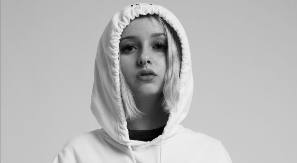 female model with a hoodie